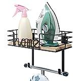 Tj. Moree - soporte para tabla de planchar, soporte para planchar, soporte de pared de metal con gran cesta de almacenamiento de madera y ganchos extraíbles (negro)