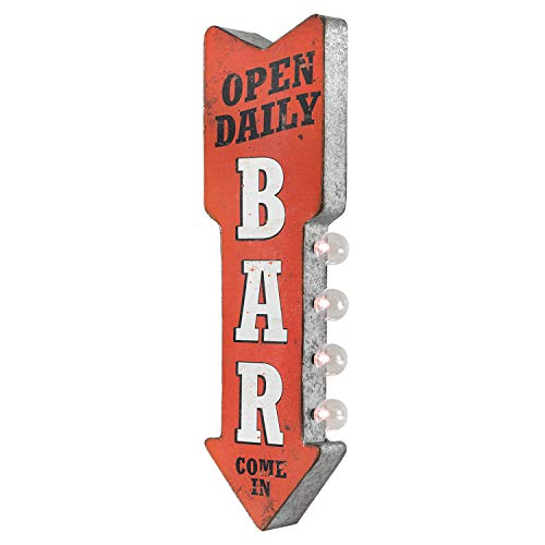 Bar Open Daily Reproduction Vintage Advertising Sign - Battery Powered LED Lights, Double Sided Metal Wall Mounted - 25 x 8 x 4 inches