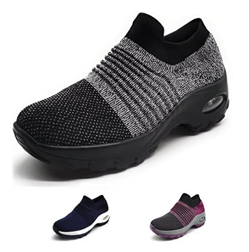Zapatillas Deportivas Mujer Calcetin Elasticas sin Cordones Muy Comodas Transpirable Antideslizante para Correr Andar Trabajar Grey 38