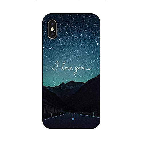 EREMITI JEWELS Cover Morbida Compatibile per iPhone Modello I Love You con Cielo Stellato su Strada di Montagna (5)