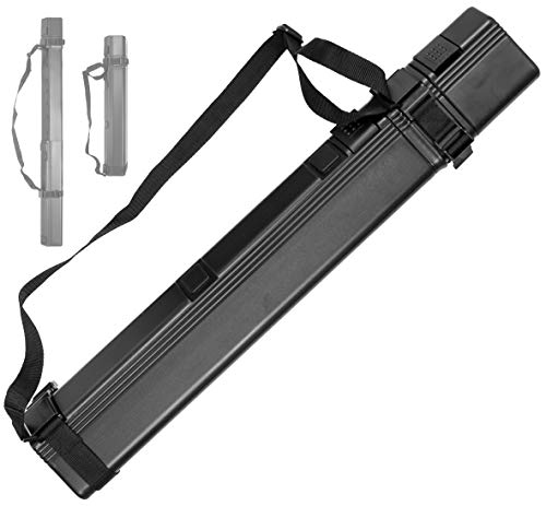 VViViD Flat-Sided Black Plastic 25-41 Inch Length Telescoping Poster, Artwork and Document Carrying Tube