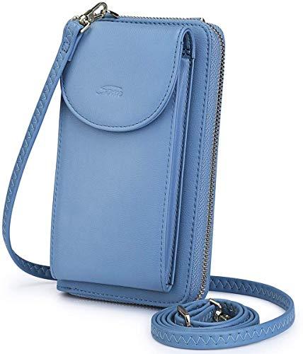 """S-ZONE Damen Handy-Umhängetasche PU Leder RFID Blockierung Handytasche Geldbörse mit Kartenfächer Verstellbar Abnehmbar Schultergurt Passt Handy unter 6,5"""" (Dunkelblau)"""