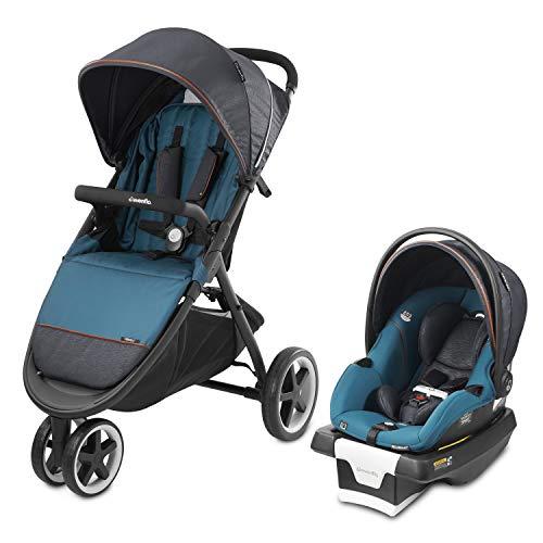 Evenflo Gold, Sensorsafe Verge3 Smart Travel System, Includes SecureMax Smart Infant Car Seat, 3-Wheel Jogging Stroller, SensorSafe Syncs Automatically with App, Fits Infants 4 to 35 Pounds, Sapphire
