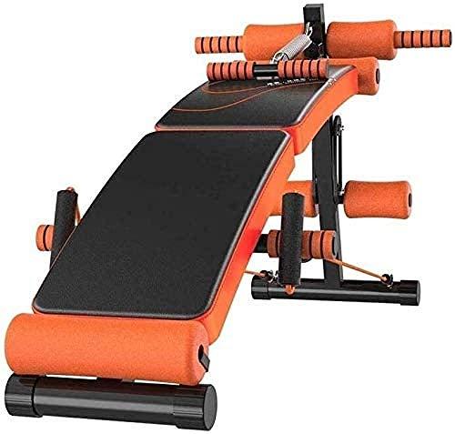 Verstelbare halterbank Indoor draagbare gezinsmodellen voor mannen en vrouwen lichtgewicht liggende plank dunne buik oefening fitnessapparatuur sit-ups(Upgrade)