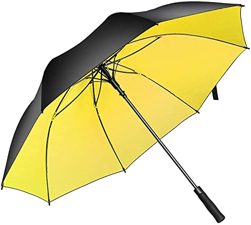 Superbison Dual Layer Ombrello 62/51 pollici Grande apertura automatica Forte Ombrello antivento impermeabile (Giallo 155cm)