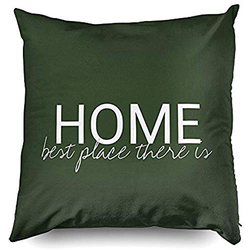 8Jo6Poe Cotton Linen Pillow 20X20,Modern Hunter Green Home Best Place There is Lumbar Decorative Throw Pillow Cover for Home Sofa Bedding