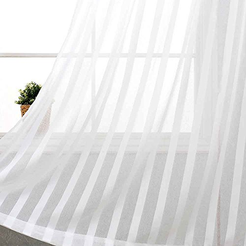 jinchan Striped Sheer Curtains for Bedroom Living Room Window Curtain Drapes Rod Pocket 2 Panels 84 inches Long White