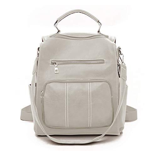 Mochila para mujer de piel sintética suave, informal, mochila escolar, antirrobo., White (Blanco) - SL9706