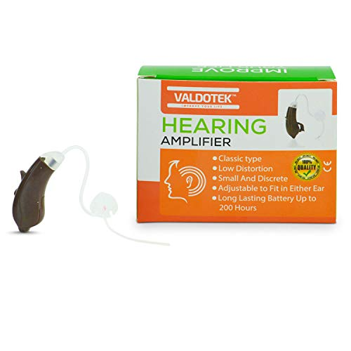 Valdotek Hearing Amplifier BTE Behind The Ear High Quality Aid Sound Digital Signal Processor DSP Noise Reduction New Design Rocker Volume Switch Aids Environment Modes