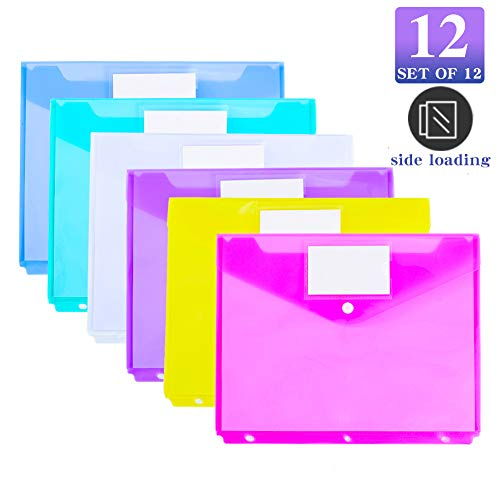 12 Pack Poly Binder Pocket, Side Loading,Letter Size, Pocket Folders Poly Envelopes Clear Document Folders for 3 Ring Binder with Label Pocket & Snap Button for School Home Office