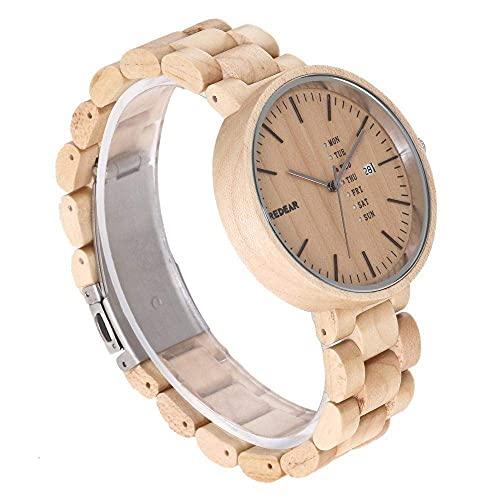 NZDY Reloj de madera Correa de madera de bambú Reloj de pulsera de madera natural Movimiento de cuarzo japonés para mujeres y amp; Hombres,B