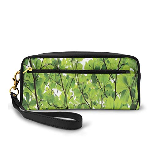 Pencil Case Pen Bag Pouch Stationary,Close-up Tree Leaves from an Uprising Angle High Plants Summer Fresh Environment Habitat,Small Makeup Bag Coin Purse