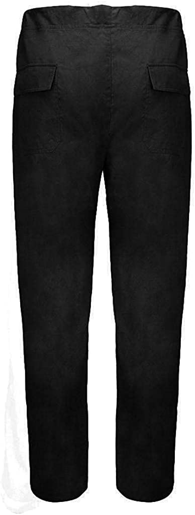 Men Sweatpants Cotton Linen Yoga Pant Casual Drawstring Straight-Legs Loose Fit Trouser Beach Long Pant