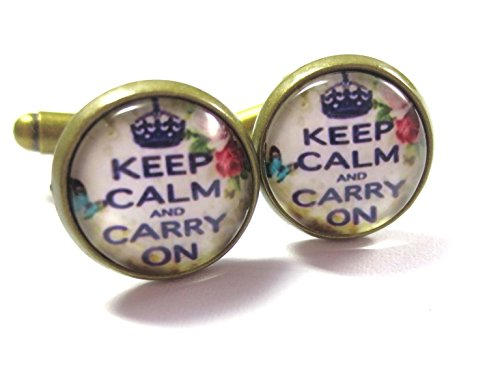 Spruch Manschettenknöpfe Keep Calm and Carry on Modeschmuck Bronze-Farben