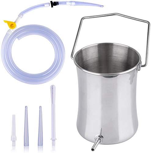 ABSM-L Premium Einlaufset zur Darmreinigung Edelstahl 2L Darmeinlauf Irrigator - Klistier Set Einlaufbecher - Heilfasten & Entgiften per Darmspülung Weibliche Reinigung