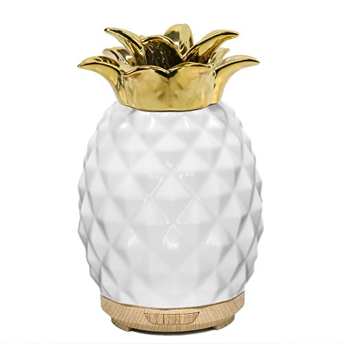 Aromatherapy Essential Oil Diffuser 120ml Ceramic Ultrasonic Aroma Oil Diffuser Whisper Quiet Humidifier with Timer Adjustable Mist for Home Office (Pineapple)