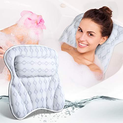 OUTUL Badewannenkissen nacken - Aktualisiert 3D-Luftnetz-Technologie Kissen Badewanne mit 6 starken Saugnäpfen für frauen