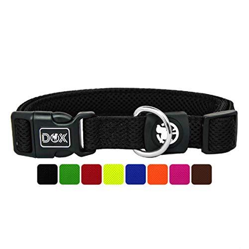 DDOXX Hundehalsband Air Mesh, verstellbar, gepolstert | viele Farben | für kleine & große Hunde | Halsband Hund Katze Welpe | Hunde-Halsbänder | Katzen-Halsband Welpen-Halsband klein | Schwarz, S