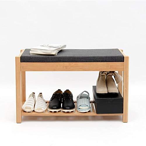 XWZH Zapatero de madera maciza a prueba de polvo, estante de almacenamiento para sala de estar, dormitorio con cojín suave, taburete de almacenamiento de 55,5 x 30 x 48,5 cm (color: A)