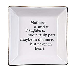 """Unique gift for mom from daughter, daughter's birthday gift or girl's graduation gift from mom, best ceramic ring dish decorative jewelry tray to express your love Stylish and elegant, well packed with styrofoam and white box.Measures approx 3.9""""L x ..."""