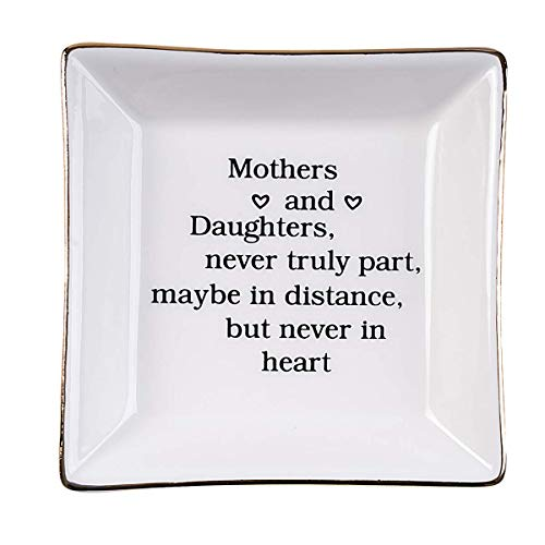 Ueerdand Gift for Mom from Daughter, Daughter Birthday Gift from Mother, Mother's Day New Year Birthday Gift for Mother Ceramic Ring Dish Decorative Jewelry Tray (Mother and daughter)