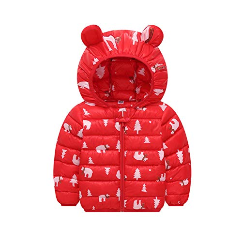 Guy Eugendssg Winter Baby Girls Boys Coats Jacket Thick Ears Hooded Newborn Jacket Outwear Coats Red 24M