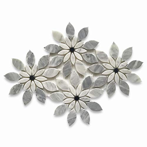 Stone Center Online Carrara White Italian Carrera Marble Wildflower Rain Flower Waterjet Mosaic Tile w/Bardiglio Gray Honed Venato Bianco Bathroom Kitchen Backsplash Floor Tile
