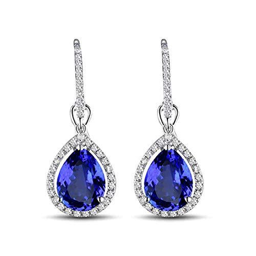 ANAZOZ Pendientes Mujer Tanzanita,Pendientes de Mujer Oro Blanco 18 Kilates Plata Azul Gota de Agua Tanzanita Azul 3.07ct Diamante 0.45ct