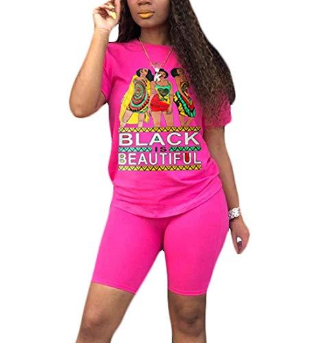 ksotutm Womens 2 Piece Outfit Black Beautiful Print T-Shirts Workout Tracksuit Pants Suit Set