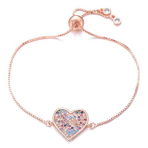 Pulseras Brazalete Delicado Corazón Grande Pulsera con Dije Deslizante Cadena Multicolor Pulseras De Circonita Cúbica para Mujeres Amantes Joyería De Moda Oro Rosa