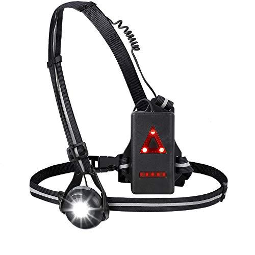 YCHFHEFJ Sports Lauflicht , Lauflampe Joggen Led, Wasserdicht Leichtgewichts, USB Wiederaufladbare, 90°drehbarer Lampenkopf, Reflektierendes Brustgurt für Laufen Joggen Angeln Camping Radfahren