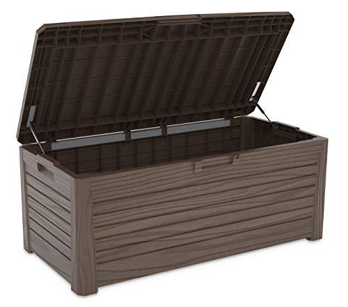 XL Toomax Kissenbox #Z155 Florida braun 550 Liter Inhalt Holz Optik - mit Sitzfläche 350 kg Tragkraft - abschließbar