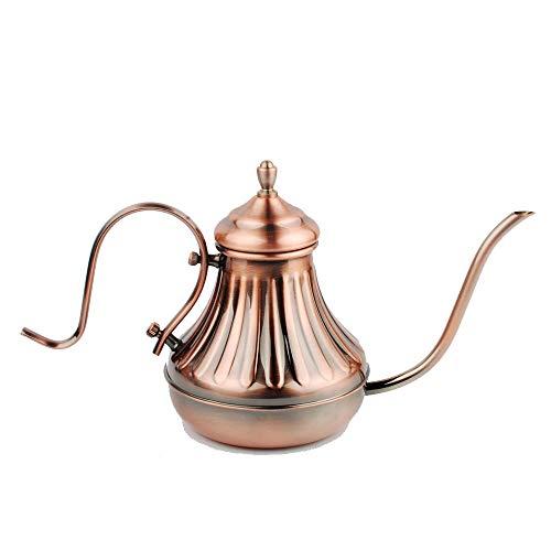 NWFashion Copper Pour Oven Coffee Kettle Gooseneck and Narrow Spout Electric Drip Stove Top Tea Pot (650ml)