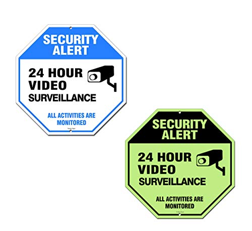 Video Surveillance Sign Outdoor | No Trespassing Glow-in-The-Dark Large Warning Sign | 12x12 Aluminum | Indoor Outdoor | Home Business CCTV Security Camera | Waterproof UV Protected | Blue