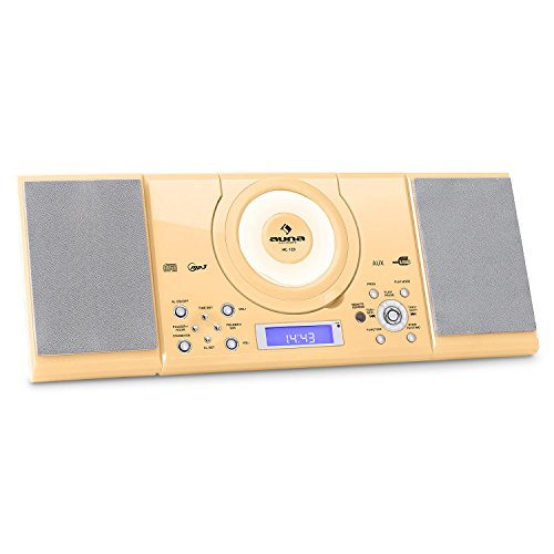 auna MC-120 - Stereoanlage, Kompaktanlage, Microanlage, MP3-fähiger CD-Player, UKW-Radiotuner, 30 Senderspeicher, USB-Port, AUX-IN, Weckfunktion, Creme