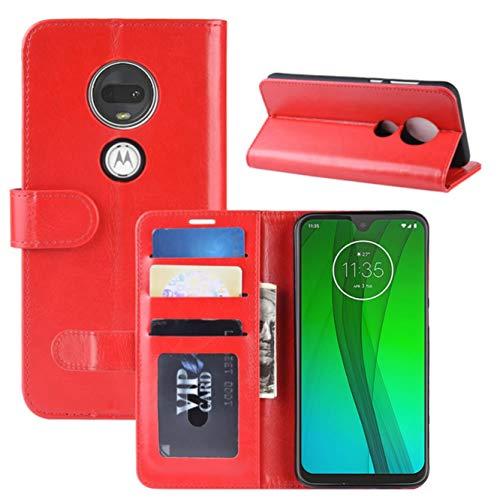 HualuBro Moto G7 Plus Hülle, Retro Leder Brieftasche Etui LederHülle Tasche Schutzhülle HandyHülle Handytasche Leather Wallet Flip Hülle Cover für Motorola Moto G7 Plus - Rot