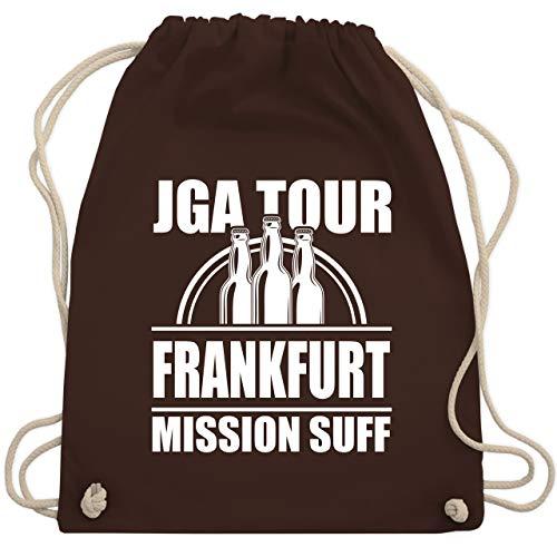 Shirtracer JGA Junggesellenabschied Männer - JGA Tour Frankfurt - Mission Suff - Unisize - Braun -...