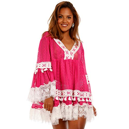 YC Fashion & Style Damen Strand Kleid Minikleid Tunika mit Mini Pompons Häkeleinsatz und Spitze stylisches Sommer Jumper Freizeit-Kleid Made in India (One Size, Pink)