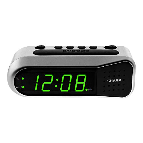 sharp radio alarms SHARP Digital Alarm Clock - Ascending Alarm Begins Faintly and Grows Increasing Louder, Gentle Wake Up Experience, Dual Alarm - Battery Back-up, Easy to Use with Simple Operation (Brushed Silver)