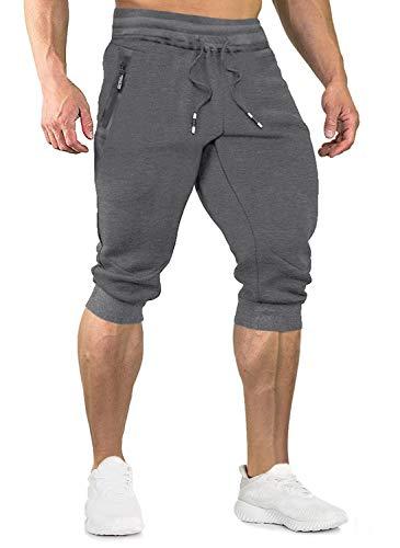 EKLENTSON Herren 3/4 Länge Shorts Jogginghose Fitnesshose Gym Bodybuilder mit Elastischem Bund, Dunkelgrau