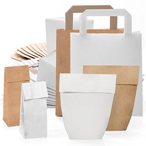 120 Papiertüten Kraftpapier natur braun weiß Papier-Beutel Boden-Tüten Papier-Tragetasche Geschenk-Tasche Verpackung Geschenke Geschenkbeutel mit Henkel lebensmittelecht