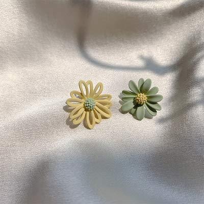 HWADMW Pendientes de flores clásicas flor amarilla asimétrica dulces pendientes huecos accesorios de moda joyería verde amarillo