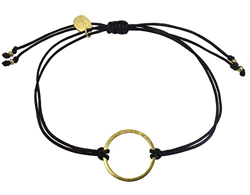 Smilla Brav® Kreis-Karma Lebenskreis Chakra Damen-Armband Good Karma - schwarz/Gold - Energie-Schmuck VH26