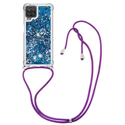 HülleLover Handykette Handyhülle für Samsung A12 5G, Glitzer Flüssig Bewegende Treibsand Transparent Silikon Hülle mit Kordel zum Umhängen Necklace Hülle Band für Samsung Galaxy A12 5G, Blau