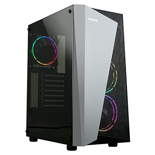 Zalman S4 Plus ATX Mid Tower Gaming PC Case, 3 x 120mm Pre-Installed RGB Fans, Acrylic Side Panel, Black