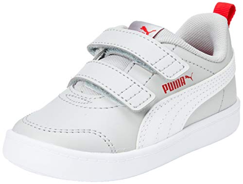 PUMA COURTFLEX V2 V INF, Zapatillas Unisex niños, Gris (High Rise/High Risk Red 02), 26 EU