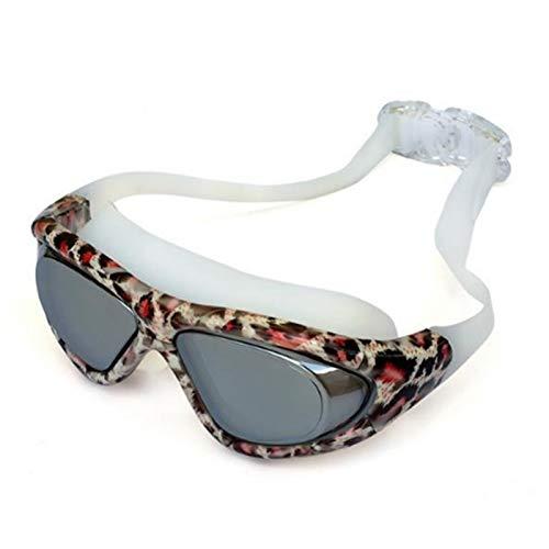 Cliiinerrti Swimming Goggles Adult Printed Swimming Goggles Big Frame Electroplating Waterproof Anti-Fog Swimming Goggles Diving Female Swimming Goggles Goggles (Color : Leopard Print)