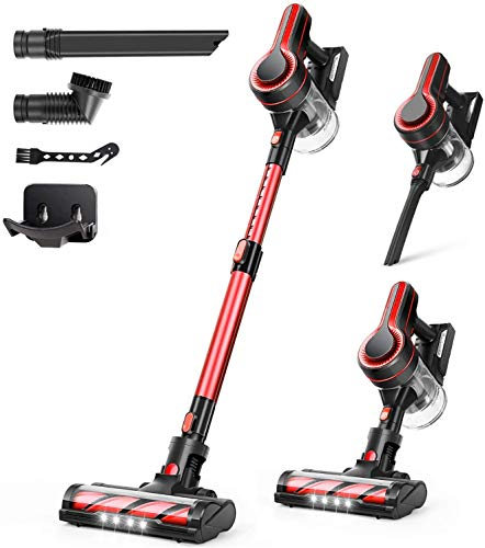 APOSEN Cordless Vacuum Cleaner, 24000Pa Strong Suction, 4 in 1 Stick Vacuum Cleaner Detachable Battery, 250W Powerful Brushless Motor, 1.2L Super-Capacity for Deep Cleaning Carpet Hard Floor H250(Red)