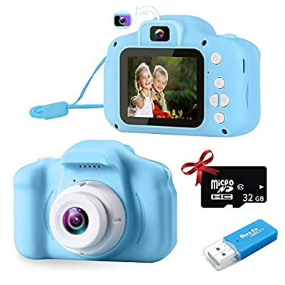 Kids Camera for Boys and Girls, Digital Camera for Kids Dual Lens Kids Selfie Camera 20MP Photo Resolution 1080P HD Toddler Camera Toy for Gift for 3 4 5 6 7 8 Year Boy with 32G TF Card by POSO
