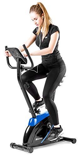 Hop-Sport Onyx Heimtrainer Fahrrad - Fitnessgerät für Zuhause mit Pulssensoren und Computer, 8 Widerstandsstufen, Schwungmasse 7 kg - Fitnessfahhrad für EIN max. Nutzergewicht von 120kg Blau